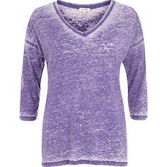 Purple burnout V neck top T Shirt Vest, V Neck Tops, Tunic Tops, Purple, Long Sleeve, Sleeves, Sweaters, Shirts, Women