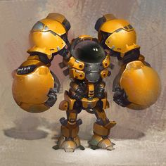 Large Mech Suit, with boxing glove arms, seems too top heavy. The idea of large arm attachments could be used however. Robot Concept Art, Game Concept, Game Character, Character Concept, Rpg Cyberpunk, Arte Robot, Robots Characters, Mekka, Cool Robots