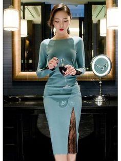 2014 New Elegant Dress Pure Color Lace Splicing Long Sleeve Round Collar Regular Light Blue Dress S-XL