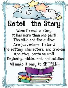 FREE First Grade Wow: retell the story mini unit, comes with posters for setting, character, problem...