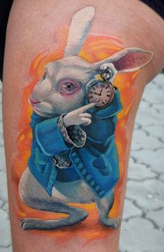 This White Rabbit from Tim Burton's Alice in Wonderland was tattooed by A.D. Pancho.