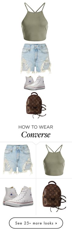 """Untitled #5909"" by twerkinonmaz on Polyvore featuring R13, Converse and Louis Vuitton"