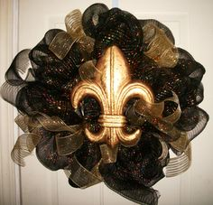 Fleur de Lis Wreath/French New Orleans Saints by micmacms on Etsy, $49.00