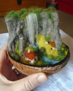 'Living under the waterfall' landscape in a nutshell - needle felted - S.Shaw