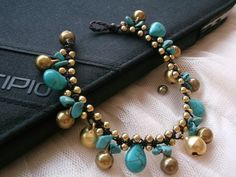 New Turquoise Bead gold brass Beads Bracelet love by Nannapatt