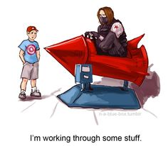 http://sadtrashsebast.tumblr.com/post/86213052927/n-a-blue-box-everyone-deals-with-revelations-in Bucky Barnes fan art Captain America: The Winter Soldier