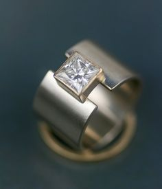 "unique 14K gold wide band wedding ring - princess moissanite ""lunar eclipse"" wide band alternative engagment ring - wedding band"