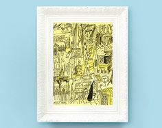 Vintage Madeline Print. Original French Book Plate Illustration 6x7 inches. Looking Searching Landmarks France Paris Ludwig Bemelmans