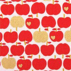 white Kokka oxford fabric red apple with gold metallic 1