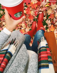 Fall outfit - red Hunter boots, plaid scarf and Starbucks red cup