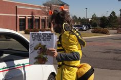 Bees educating Lowe's customers on why they need treats, not tricks and want a stop to bee-killing pesticides. Photographer: Greg Robinson