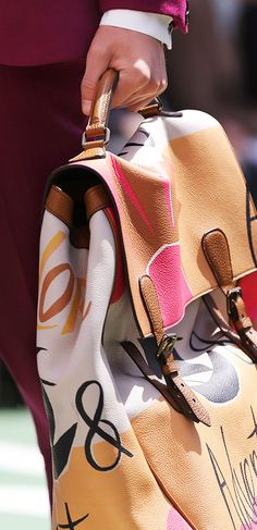 The Burberry Travel Satchel in illustrated prints on the Spring/Summer 2015 runway