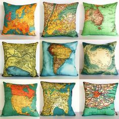vintage maps printed on fabric and turned into pillows.