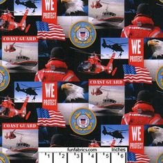US Coast Guard Collage Cotton Fabric