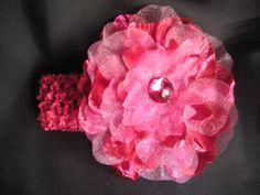 Pink Baby HeadbandShiny Large Pink Flower by LittleMissBlingNYC, $8.95