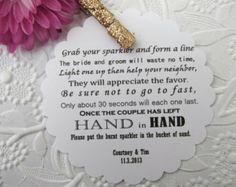 Wedding Sparkler Tags | 50 Wedding Send Off/ Sparkler Poem Tags ...