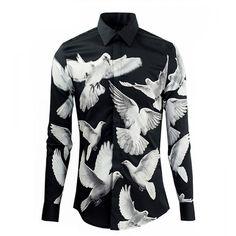 Jaycargogo Mens 3D Print Rainbow Wet Paint Long Sleeve Dress Shirt