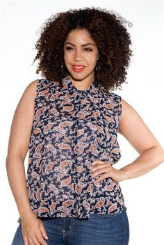 Moxie Managed Sleeveless Plus Size Paisley Print Top - Black from Ambiance Apparel at Lucky 21