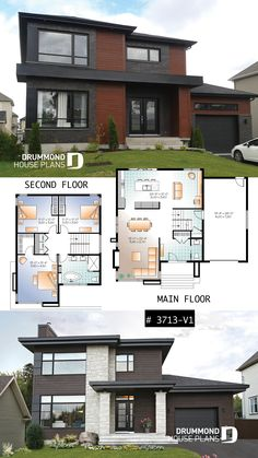 Affordable Contemporary Modern home plan with family& living rooms, many photos available, 9' ceiling on main