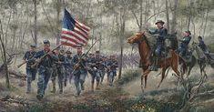 Colonel Joshua Chamberlain rushing the 20th Maine to Little Round Top at Gettysburg.