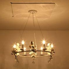 New Novelty Resin Angel Pendant Lights For Dining Room Dining Room Kitchen Modern Crystal Lamp White Iron Fixtures E14 110-220V home office