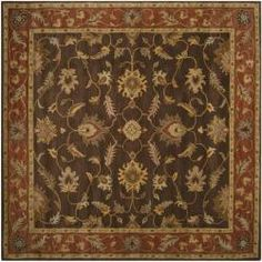 Hand-tufted Coliseum Brown Floral Border Wool Rug (8' Square) | Overstock.com Shopping - Great Deals on Round/Oval/Square