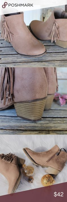 Taupe Suede Fringe Tassel Ankle Bootie Brand New In Box TaupeAll Vegan Materials True to Size Tassel detail with Side Zipper Wooden Stack Heel Heel Height 2 InchesFeel Free to Ask Questions!www.thefairyden.com Shoes Ankle Boots & Booties