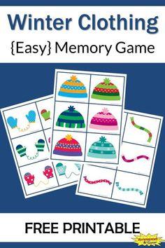 Winter Clothing Memory Game Free Printable: A free printable easy winter clothing memory game for kids.