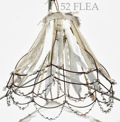 DIY a Lamp Skeleton into a Shabby Chique Eyecatcher with some Lace and Cotton Fabric Ribbons and old Necklaces ;-D