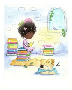 African American Girl et chiot - Afro hair art. Reading Art, Girl Reading, Happy Reading, Reading Books, Children Reading, African American Girl, African Art, African Women, Natural Hair Art