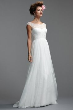 Watters Brides / Salida Gown #5085B / Available Colours : White, Ivory (Shown with lightly beaded bateau neckline & shirred soft net A-line skirt)