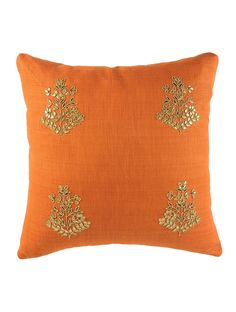 Buy Rust Orange Floral Gota Patti Cushion Cover - 16in x 16in Online at Jaypore.com