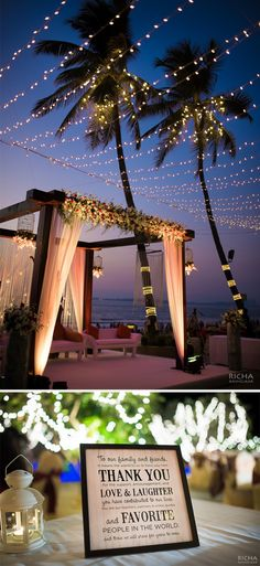 Outdoor beach wedding decor with pastel drapes, floral decor and fairy lights. Extra brownie points for the adorable mini blackboards as centrepieces on the tables.