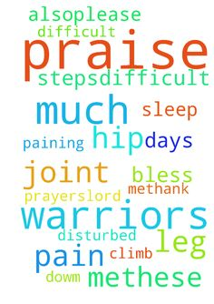 Dear my prayer warriors  Praise Lord. Please pray for - Dear my prayer warriors Praise Lord. Please pray for me.These days i am very much disturbed by leg pain Both of my from hip joint is paining. Difficult to climb up and dowm steps.difficult to sleep also.please pray for me.thank you very much for all your prayers.lord bless you all. Posted at: https://prayerrequest.com/t/KUg #pray #prayer #request #prayerrequest