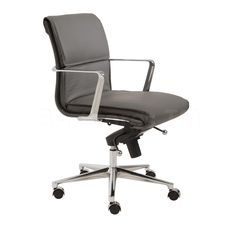 Leif Low Back Gray Leatherette Office Chair