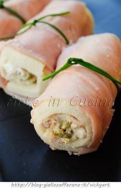 Involtini di prosciutto ripieni con pancarrè formaggio e tonno vickyart arte in cucina