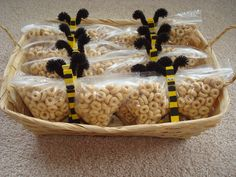 bee party- Thank You Pinterest for giving me the idea behind these snacks for the littles. This was originally shown as a butterfly, but we made bees and filled the snack size bag 'wings' with Honey Nut Cheerios!!! eb