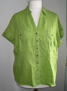 Ladies lime green shirt blouse top flax linen size 20 M&S Exc Condition in Clothes, Shoes & Accessories, Women's Clothing, Tops & Shirts | eBay