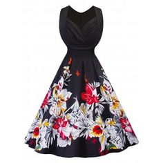 Vintage Ruched Floral Print Fit and Flare Dress
