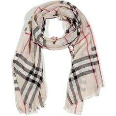 BURBERRY Giant Check Wool/Silk Gauze Scarf  I am such a sucker for Burberry print! #scarves #accessories #fashion #womensfashion