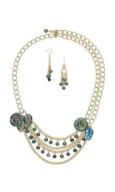 "Jewelry Design - Bib-Style Necklace and Earring Set with Pyrite Drops, Cultured Freshwater Pearls and Gold-Plated ""Pewter"" Drops - Fire Mountain Gems and Beads"