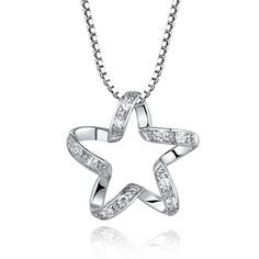 "CoolGo Women 925 Sterling Silver Shining Star Shape Paved Diamond Pendant Necklace 18"" w/ Silver 1mm Singapore Chain with Spring Ring Clasp Closure"