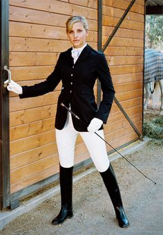 """I've always thought that English horseback riding apparel could be worked into fashion.  And now it is.  """"Reconstruct"""" adding in a layered flouncy skirt and an exaggerated ruffled blouse.  Even shorten the jacket in the front a bit!  :)"""