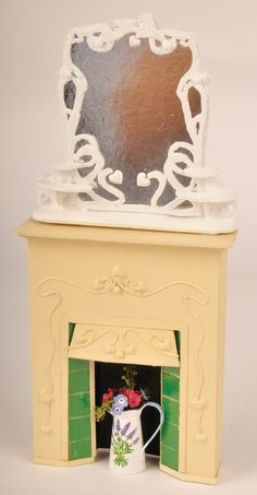 Dollhouse DIY Art Deco fireplace from cardboard, mountboard etc.   Source: The Dolls House