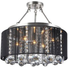 Add a touch of chic to your living space with this five-light crystal semi ceiling lamp. This ceiling lamp showcases an iron base with a satin nickel finish and black shade.