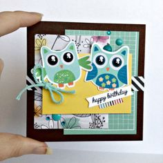 Cute 4x4 small birthday card dapper raccoon with top hap and adorable owls small 4x4 birthday card bookmarktalkfo Image collections