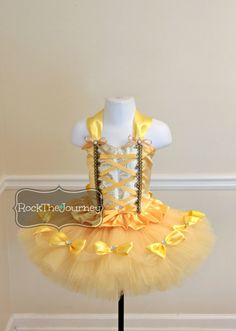 Belle of the Ball Tutu Outfit - Yellow Princess Birthday Party Yellow - Halloween Costume - Cake Smash - Bell Dress - 1st 2nd 3rd - 6mos-5T