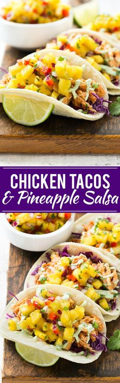 This recipe for pulled chicken tacos with pineapple salsa is flavorful shredded chicken combined topped with sweet and tangy salsa and creamy cilantro sauce, all stuffed inside warm corn tortillas.