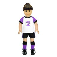 - Soccer Top, Soccer Shorts, Black Socks, Ponny Tail, Kneed Pads - Fits all American Girl dolls and Madame Alexander 18'' inch Dolls. - Unique designs. - Shoes and Doll not included