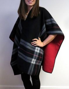 LOOK SLEEK FABULOUS WELL PROTECTED AND AMAZING IN RUANA WRAPS. WOMEN CAN'T LIVE WITHOUT THEM ONCE THEY HAVE TRIED ONE SO EASY TO WEAR AND REMOVE - STAYS IN PLACE WITH LONG WIDE COVERAGE AND HIGH STYLE. http://www.yourselegantly.com/winter-shawls-ruana-wraps/ruana-cape-wraps/black-and-red-reversible-ruana-cape-wrap.html